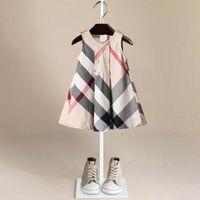 vestido xadrez verão menina venda por atacado-Nova Chegada de Verão Meninas Vestido Sem Mangas Venda Quente 5 Cores de Alta Qualidade de Algodão Do Bebê Crianças Grandes Vestidos de Manta