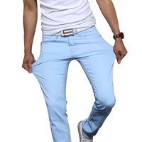 calças jeans moda calças justas venda por atacado-2018 New Fashion Men 's Casual Estiramento Skinny Jeans Calças Apertadas Calças Sólidos Cores de Luxo Jeans Mens Designer Jean