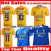 ingrosso jersey blu giallo-2018 2019 Tigres UANL maglia da calcio 18 19 Mexico club Tigers Yellow 6 Stelle GIGNAC Vargas H. Ayala SOSA via maglia blu maglie