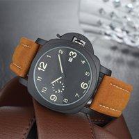 Wholesale Small Seconds Watch - Original Luminous Mens Watches Luxury Brand Calendar Quartz Cool Wristwatches Pei Leather Strap Small Seconds Sports Men Watch