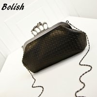 Wholesale Linen Evening Handbags - Bolish New Handbag Woven Bag Skull Ring Chain Bag Handbag Shoulder Messenger Evening