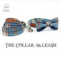 Wholesale personalized cat gifts - fashon plaid dog collar and leash set with bow tie basic dog cotton cat necklace and leash for pet christmas gift