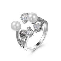 ingrosso migliori disegni di nozze-2018 Nuovo arrivo Best Fashion Simple Design Anelli regolabili lady Pearl Zircon Jewelry Wedding Rings