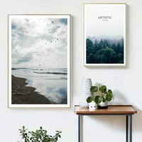 Wholesale Sea Poster Landscape - COLORFULBOY Sea Forest Landscape Nordic Posters And Prints Canvas Painting Wall Art Print Wall Pictures For Living Room Decor
