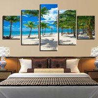 Wholesale coconut art paintings resale online - Modular Panel Coconut Tree Beach Poster Canvas Painting Wall Art HD Print Summer Vacation Resorts Seascape Pictures Home Decor