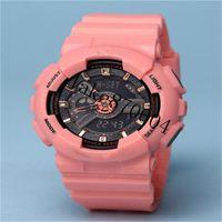 montre militaire de style armée conduit achat en gros de-TOP femmes militaire camouflage militaire numérique montre GIRL Style mode Sports Shock Army Watch LED électronique poignet montres