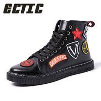 zapatos de moda masculina al por mayor-ECTIC Moda Hombre Casual botines de cuero zapatillas hip hop alto top Vulcanized zapatos bailando punk chaussure homme DP-150