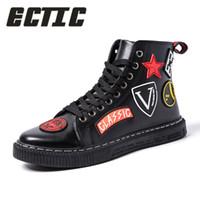 sapatos de dança hip hop homens venda por atacado-ECTIC Moda Masculina Casual ankle boots de Couro hip hop tênis de alta top Masculino Vulcanizado sapatos de dança do punk chaussure homme DP-150