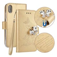 Wholesale Bling Cards - Bling Diamond Leather Wallet Case For Iphone X 8 7 6 6S Plus Magnetic Butterfly Frame ID Card Slot Cover ROSE GOLD Skins Flip Pouch Strap