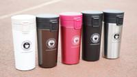 isolierung für autos großhandel-Bounce Cap Edelstahl Kaffeetasse Becher Auto Kaffee isoliert Tassen Thermo 380ml Vakuum Isolierung Wasserflasche Travel Mug Flaschen