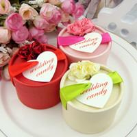 ingrosso scatola rotonda favorevole del fiore-Bomboniera bomboniera decorata con decorazioni floreali in pizzo Carta decorata con fiocchi di cioccolato decorati con sacchetti regalo Champagne rotonda Vendita calda 0 72wk YY