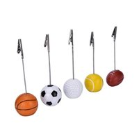 Wholesale Christmas Place Card Holders - Sport Ball Photo Clip Alligator Wire Card Memo Photo Clip Holder Table Place Card Holder Event Party Favor 300pcs OOA3856