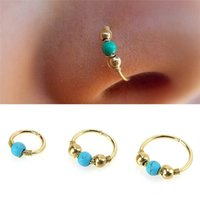 Wholesale Gold Cartilage Piercing - Hoops Helix Piercing Ear Studs Cartilage Surgical Steel Turquoises Septum Clickers Nose Ring Green Beads Tragus Piercing Nose Rings