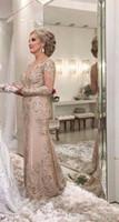 vestido de novia de la madre de manga larga de la boda al por mayor-La madre de la novia de 2019 viste una línea de manga larga escarpada formal de la noche de la madrina del banquete de boda de los invitados vestido más tamaño por encargo