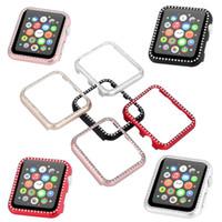 наручные часы купить оптовых-5 цветов Luxury Bling Металлическая крышка для Apple Watch Корпус Diamond Watch для серии iWatch 3 2 1 Корпус 42мм 38мм Band