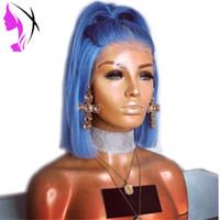 sentetik peruklar toptan satış-14 Inç Düz Simülasyon İnsan Saç sentetik Dantel Ön Peruk 180 Yoğunluk Bob Peruk Mavi Peruk Isıya Dayanıklı Kısa Peruk Siyah Kadınlar için