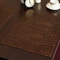 Wholesale Free Coffee Tables - Leather Placemat European Style Crocodile Pattern Table Mat Insulation Pad Mats Decorative Coffee Coasters Free Shipping