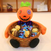 Wholesale doll cats - Halloween Candy Basket Fruit Candy Storage Pumpkin Ghost Black Cat Basket Bar Ktv Halloween Decorative Doll Ornaments