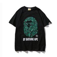 ingrosso banca nera-Colore bianco e nero T-shirt Carta delle marea Carta verde Carta di cotone puro Colletto circolare Moda manica corta Giacca streetwear