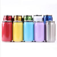 12 gläser großhandel-Doppellagige vakuumisolierte Tasse Coladosen Edelstahlbecher Thermoskanne 17 oz 12 oz Coladose mit Deckel mit Strohhalm