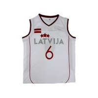 Wholesale custom college shirts - New Latvia #6 Kristaps Porzingis white College Basketball Team Jerseys Sports Uniforms Shirts Vest Custom Stitched Embroidery Sz S-XXL