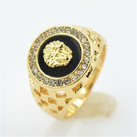 anillos de oro al por mayor-nueva marca de alta calidad CZ diamond superhero mens rings gold filled 2016 figura de la manera anillo negro KKA1927