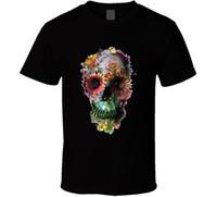 Wholesale buy white tees for sale - Buy Shirts Online Office Men O Neck Short Sleeve Cool Flower Skull Art Tee