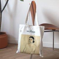 ingrosso cotone puro di signora-Borsa a tracolla in tela da donna Henri Matisse Borsa da donna con stampa di pittura Feminina Simple Eco Borsa in tessuto di puro cotone Tote