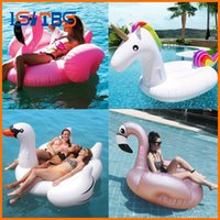 Wholesale inflatable ride animals - Giant Flamingo Unicorn Swan Pool Float Ride-On Air Mattresses Adult Children Swimming Ring Summer Water Party Inflatable Toys