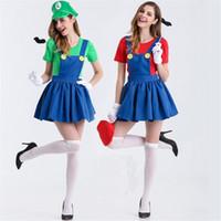 super mario sexy kostüm großhandel-Sexy Halloween Super Mario Kostüm Disfraces Adultos Carnival Costume Erwachsene Frauen Anime Cosplay Kostüme Super Mario Bros zum Verkauf