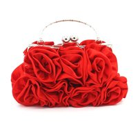 Discount white rose clutch - New Fashion Rose Flower Ladies Purse Women Evening Bag for Wedding Party Day Clutch Phone Bags