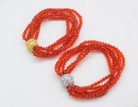 joyas de cuarzo rojo al por mayor-Pulseras de diseño para hombres 5 filas de cuarzo rojo faceetd 3-4mm pulsera de 7.5 pulgadas FPPJ granos al por mayor naturaleza