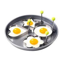 çiçek kalıp metal toptan satış-Paslanmaz Çelik Omlet Yumurta Kızartma Kalıp Çiçek Yuvarlak Yıldız Mickey kalp şeklinde Kalıplar Fried Yumurta Gözleme Halkalar Mold beş sivri Kalınlaşmak