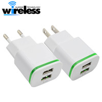 Wholesale mobile phones smartphones - Universal 5V 2A EU US LED Light Dual USB Ports Mobile Phone Wall Travel Power Charger Adapter For Samsung iPhone Smartphones