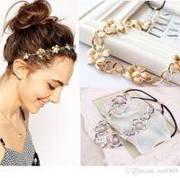 metallkopfkette großhandel-Mode Frauen Metall Kopf Kette Blume Haar Stirnband Elastisches Haarband Trendy Stirnband für Frauen Haarschmuck