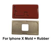 molde de la pantalla del lcd del iphone al por mayor-Para el panel de vidrio de iphoneX con marco OCA que lamina el molde de metal de aluminio con caucho para iPhone X Herramienta de reparación de lentes de pantalla LCD