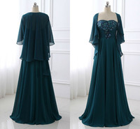 Wholesale teal mother bride - Stunning Teal Cheap Mother of the Bride Groom Dresses Plus size With Jackets Two Pieces Chiffon Sequined Lace Evening Formal Gowns 2018
