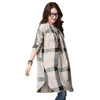 Wholesale linen clothing for women - Plaid Maternity Blouses Loose Top Clothes For Pregnant Women Wear Pregnancy Clothing Cotton Long Sleeve Shirt Plus Size 2017