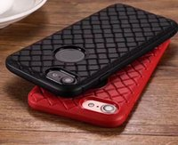 tejido de iphone 5s al por mayor-Diamante suave TPU para Iphone X 8 8th 7 PLUS 6 6S SE 5 5S Tejido de cuero tejido de goma redonda de la contraportada de la cubierta del teléfono celular de lujo 20pcs