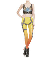 Wholesale woman costume outfit online – ideas Women Cosplay Punk Vengeance Print Two Pieces Sets Pants Short Length Sleeveless Vest Long Pants Suits Holloween Skinny Costume Outfits