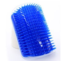 Wholesale corner plastic - Plastic Dog Hair Removal Comb Pet Grooming Tool Corner Puppy Cat Self Massage Brush Blue 10dg C R
