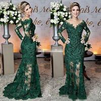 yeşil v yaka balo elbisesi toptan satış-2019 Yeni Koyu Yeşil Anne Gelin Elbiseler Sheer Jewel Boyun Dantel Aplikler Uzun Kollu Mermaid Örgün Akşam Gelinlik Modelleri