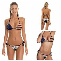 e977417c95ce2 3D American flag Bikini Set sexy bikini beach thong split swimsuit Sexy  Girl women Summer Swimsuit Swimwear KKA4853