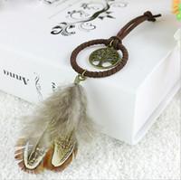 Wholesale best china ornaments resale online - Best Quality Enchanted Forest Mini Dreamcatcher Handmade Dream Catcher Net With Feather Decoration Car Keychain Ornament Diameter