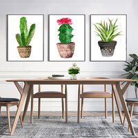 Wholesale pot painting pictures - Fashion Poster Prints Art Succulent Green Plants Potted Pictures Nordic Style Paintings Decor Living Room Or Bedroom Wall Canvas