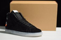 Wholesale Clear Tables - 2018 The Ten off Virgil Abloh x Blazer Blazers Mid Men Running Sneakers The 10 OW black clear noir clear sneakers mens boots (With Box)