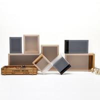 paquete de caja de jabón al por mayor-Frosted PVC Cover Kraft cajas de cajones de papel bricolaje artesanal del jabón hecho a mano joyero para el banquete de boda regalo embalaje LX0388