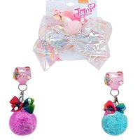 Wholesale hair accessories for baby girls online - Newest Jojo Siwa Bows With Clip For Kid Girl Unicorn Hair Clips Baby Hair Accessories Jojo Keychain
