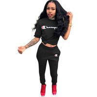Wholesale plus size sweat suits resale online - letter print piece set women plus size top and Long Pants casual outfits sweat suits two piece sweatshirt Fashion tracksuits