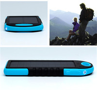 Wholesale portable solar panel battery charger online - 5000mah Solar Charger And Battery Solar Panel Portable High Power Camping Flashlight Waterproof Shock Proof Multi Function yl dd